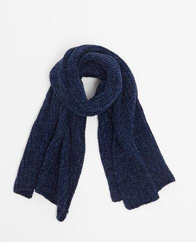 Schal aus Chenillegarn Blau