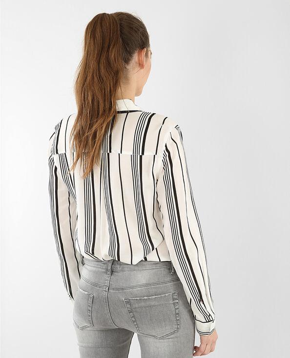 Camicia morbida a righe bianco sporco
