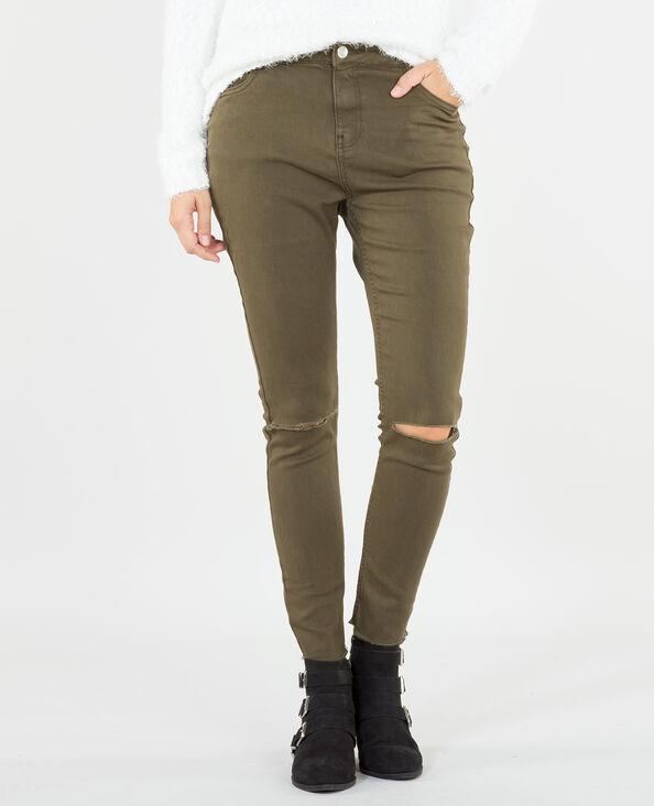 Skinny-Jeans Raw-Cut Khaki