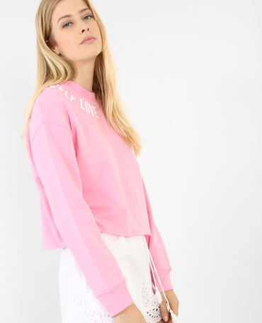 Cropped sweater met opschrift roze