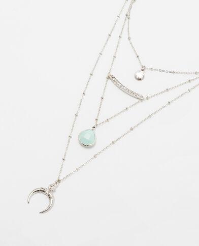 Set aus 3 silberfarbenen Halsketten Silberig