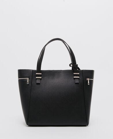 Grote shopper met enveloptasje zwart