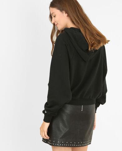 Kurzes Sweatshirt mit Kapuze Schwarz