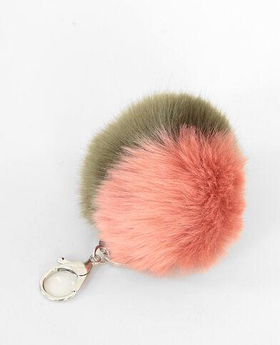 Porte-clés fourrure bicolore rose