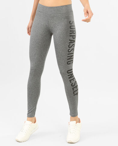 Leggings sportivo con messaggio grigio chiné