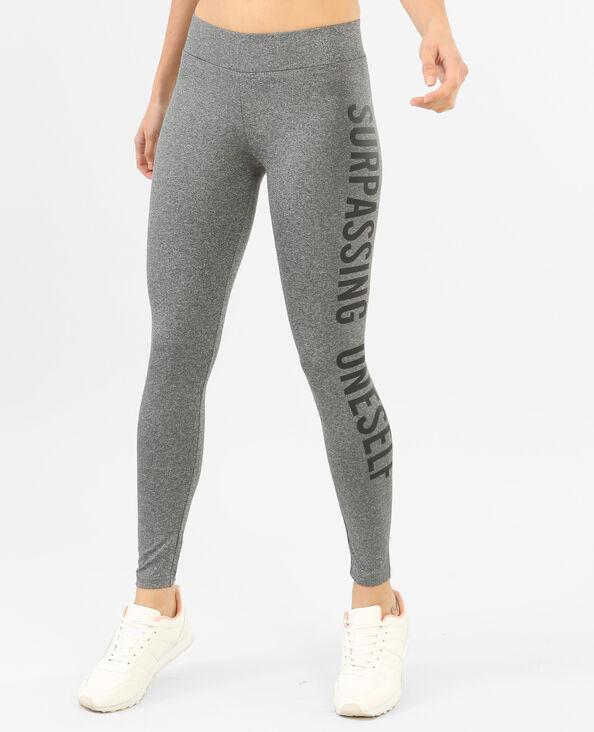 Legging sport à message gris chiné