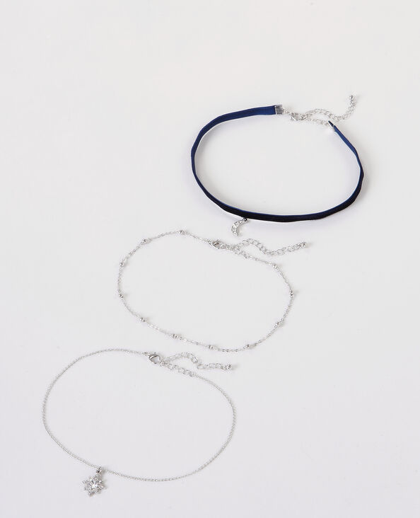Colliers chokers charms gris argenté