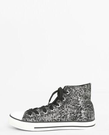 Scarpe da basket alte iridate grigio paillettato