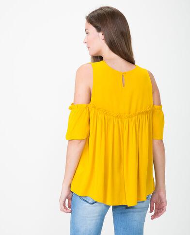 Blouse manches peekaboo jaune moutarde