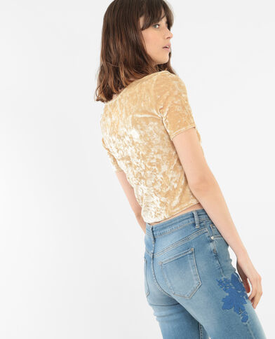 Top cropped in velluto giallo mostarda