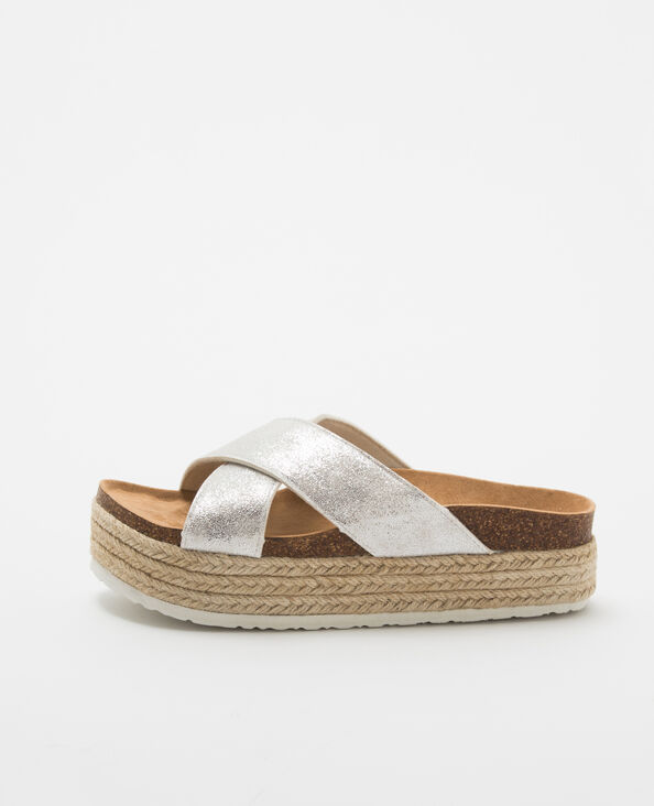 Sandales argentées compensées gris argenté