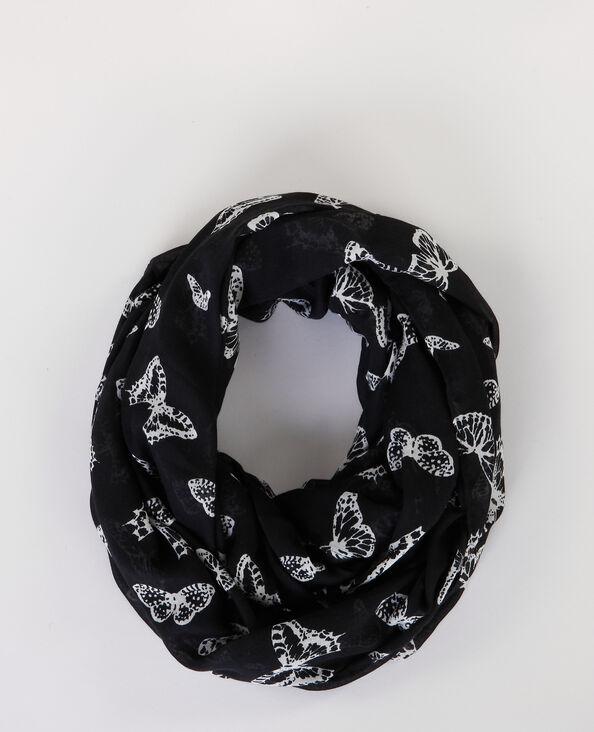 Foulard col imprimé noir