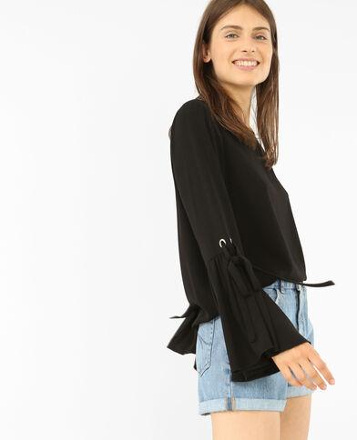Fließende Bluse mit Pagodenärmeln Schwarz