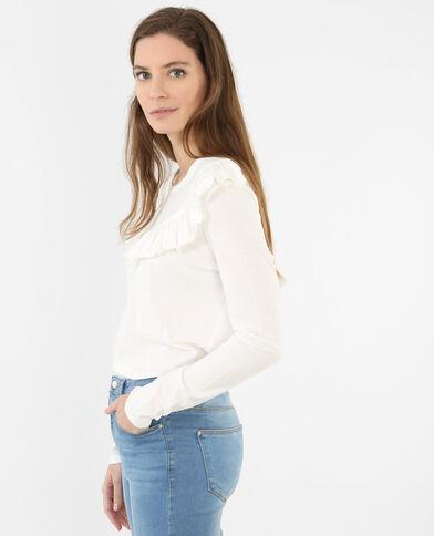 T-shirt con volant bianco sporco