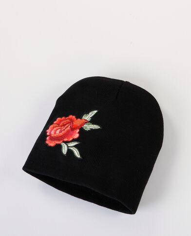 "Berretto con patch ""rosa"" nero"