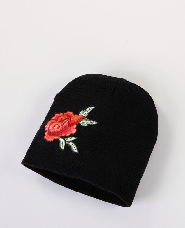 """Bonnet à patch """"rose"""" noir"""