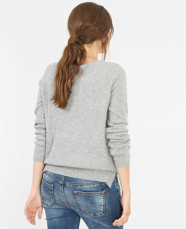 Pull con collo in perline grigio chiné