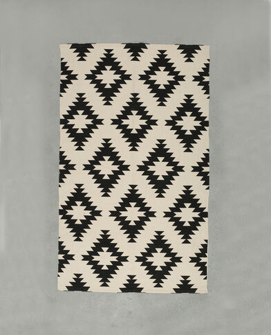 Tappeto in cotone stampato nero
