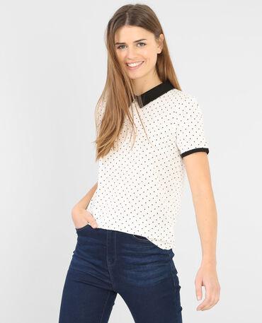 Bedrucktes T-Shirt mit Bubikragen Altweiß
