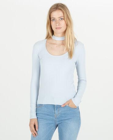 T-shirt col choker bleu