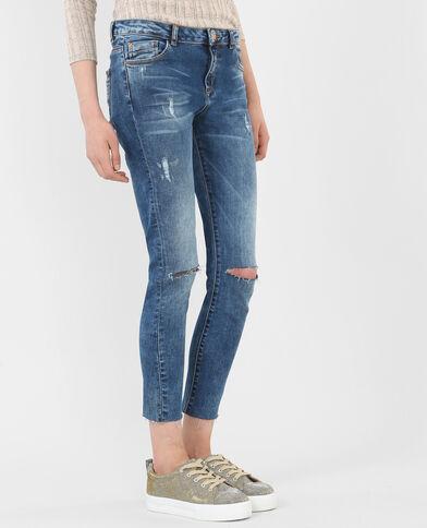Jean skinny cut genoux bleu