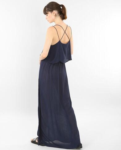 Vestido largo espalda cruzada azul marino