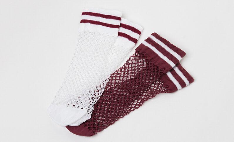 Lote de 2 pares de calcetines de rejilla ciruela