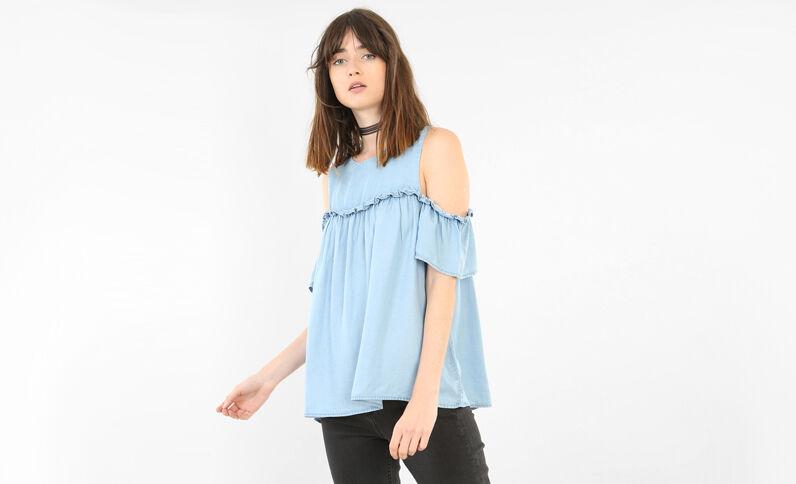 Bluse mit Peekaboo-Ärmeln Blau