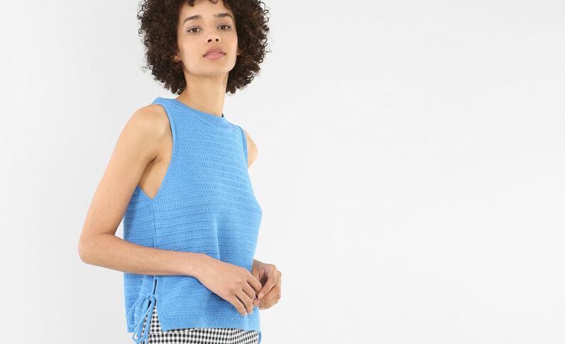 Top en tricot bleu