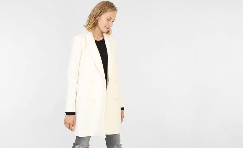 Abrigo recto de paño de lana crudo