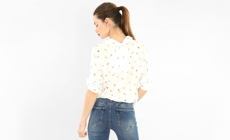 Bedruckte Hemdbluse Altweiß