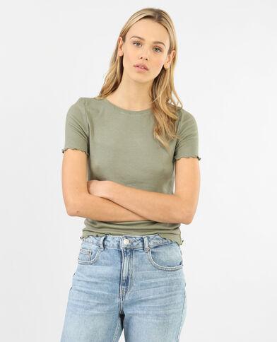 Geribbeld T-shirt groen