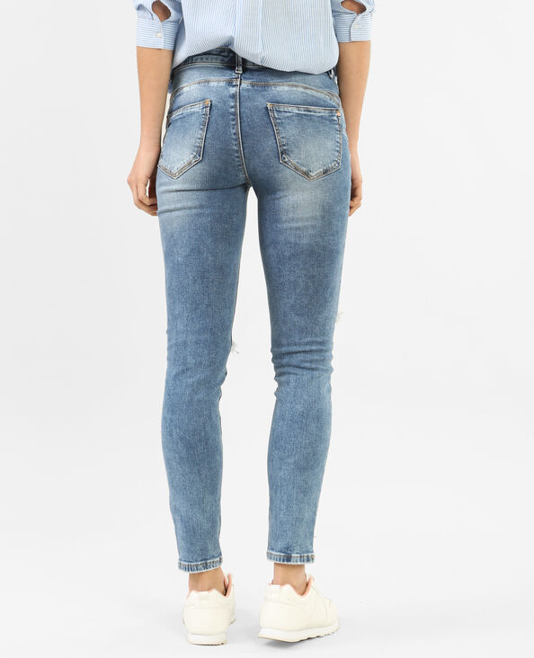Destroyed-Skinny-Jeans mit Push-up-Effekt Blau