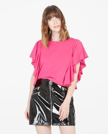 T-shirt à volants rose