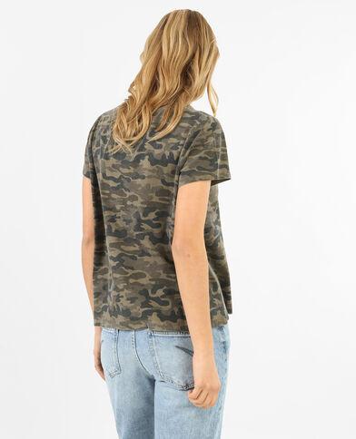Verwaschenes Army-T-Shirt mit Rosen-Stickerei Grün