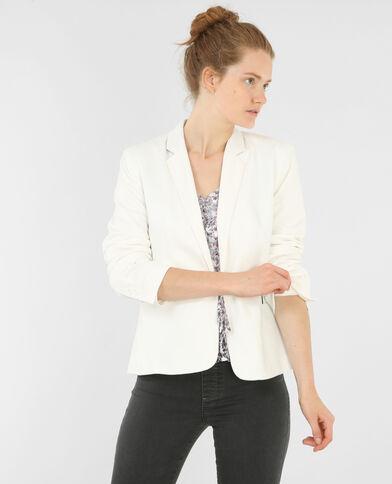Veste blazer maille blanc cassé