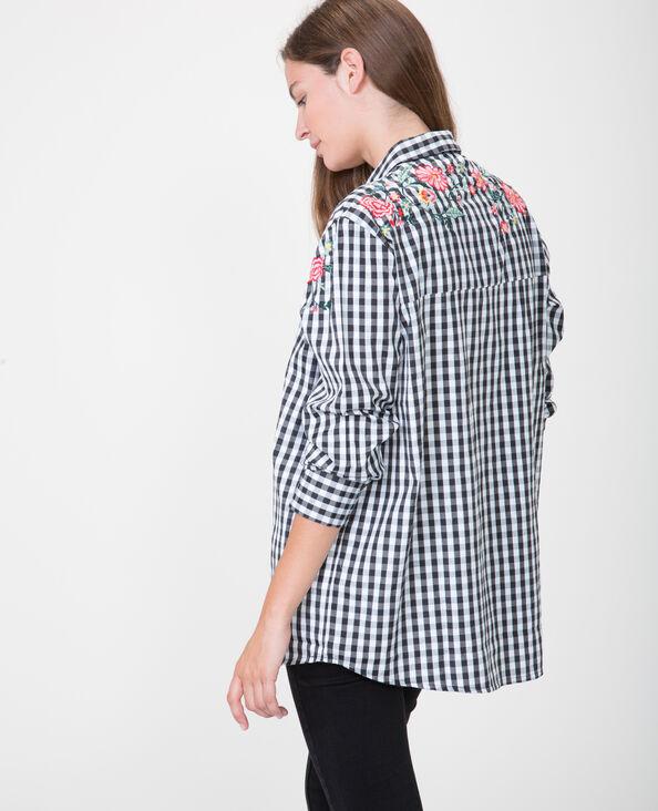 Camicia ampia con ricami nero