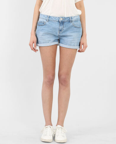 Short à revers bleu denim