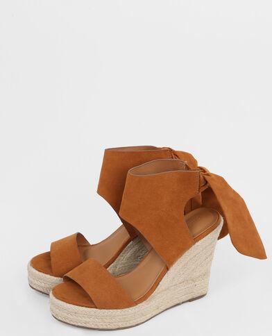 Sandales compensées à nœud marron