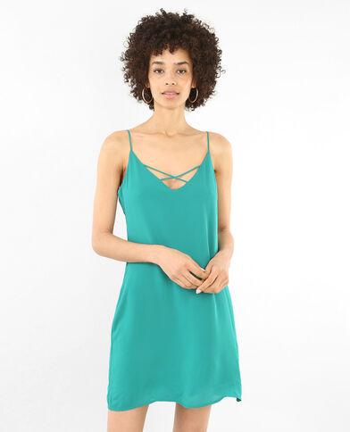 Kleid im Lingerie-Stil Tannengrün
