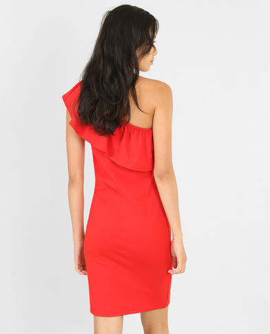 Bodycon-Kleid One Shoulder Rot
