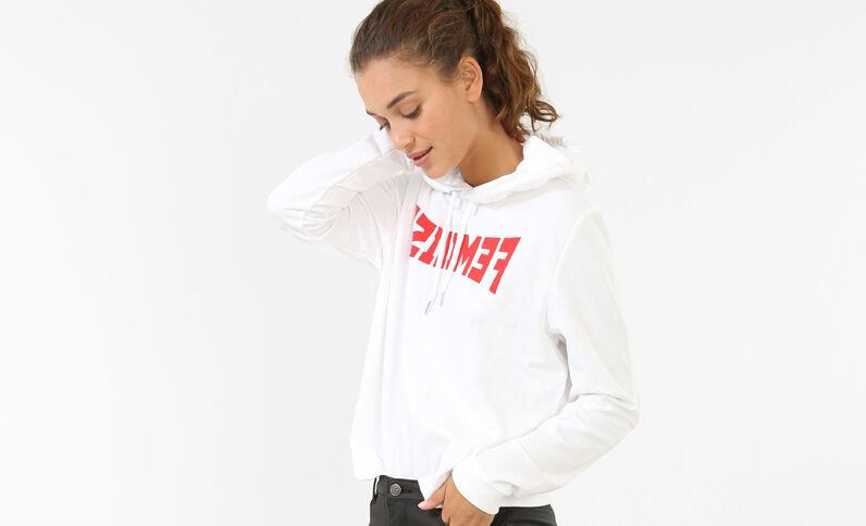 Message-Sweatshirt Weiß