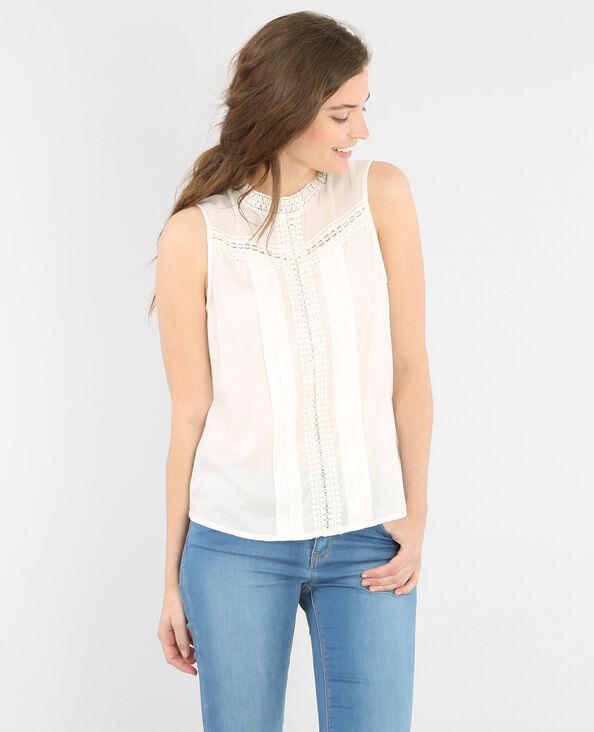 Blusa de dos tejidos marfil