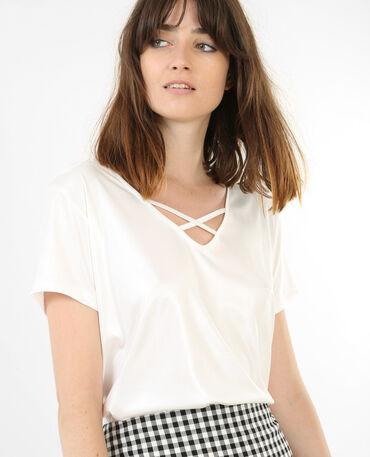 T-shirt irisé col croisé blanc