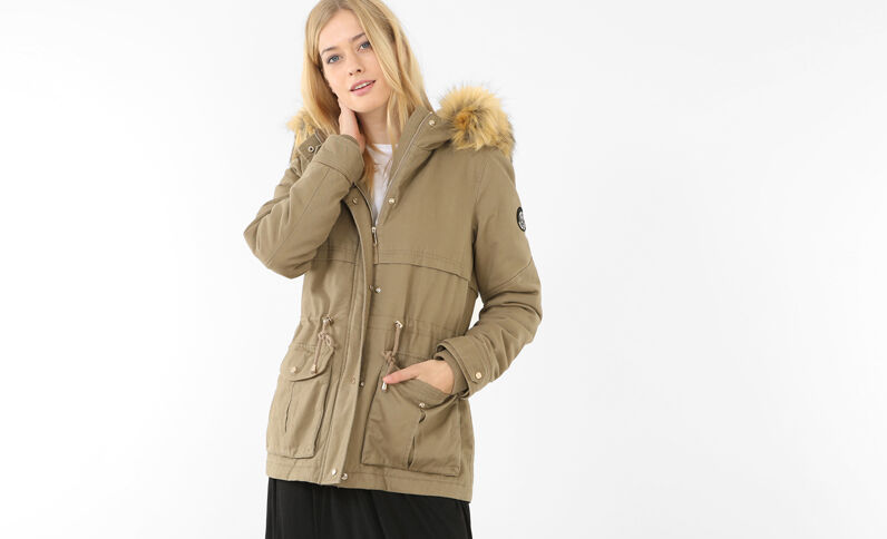 Parka con forro beige grisáceo