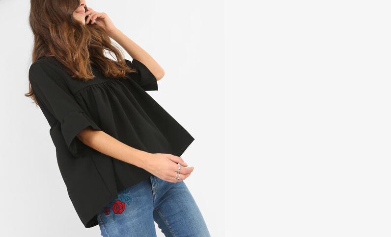 Blusa con basca nero