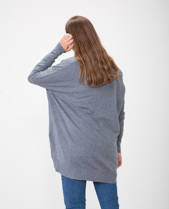 Lange blazer met ribbels gemêleerd grijs