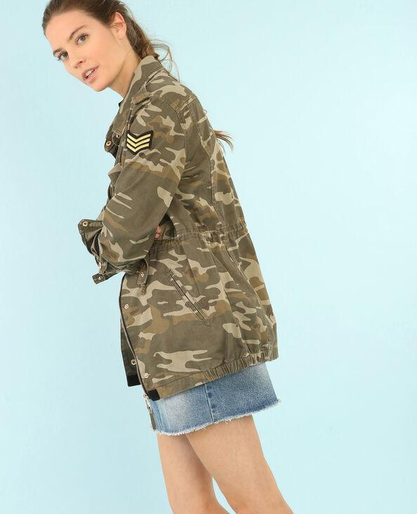 Army-Jacke mit Camouflage-Print Khaki