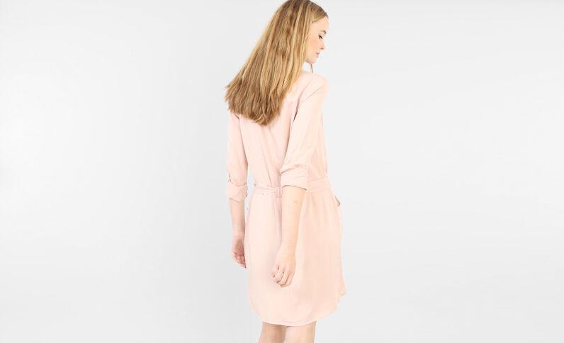 Robe chemise ceinturée vieux rose