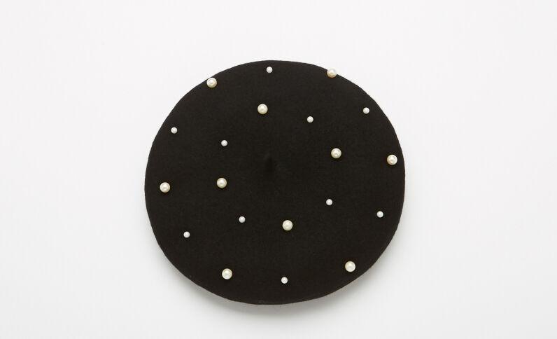 Béret à perles noir